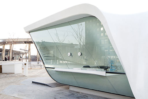 Ferry Terminal Booth, New York, Custom Shaped Glass